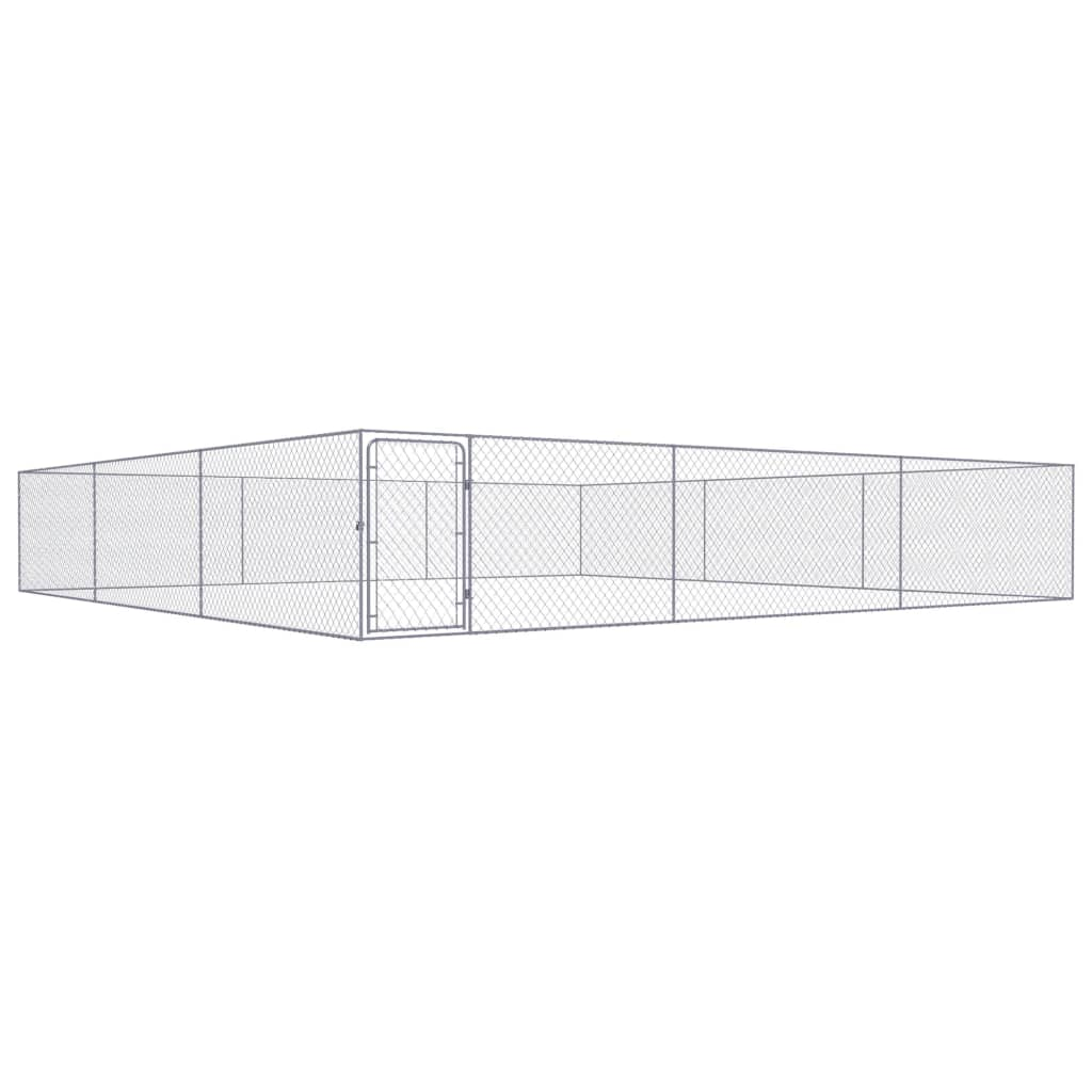vidaXL Padoc pentru câini de exterior, 6 x 6 x 1 m, oțel galvanizat imagine vidaxl.ro