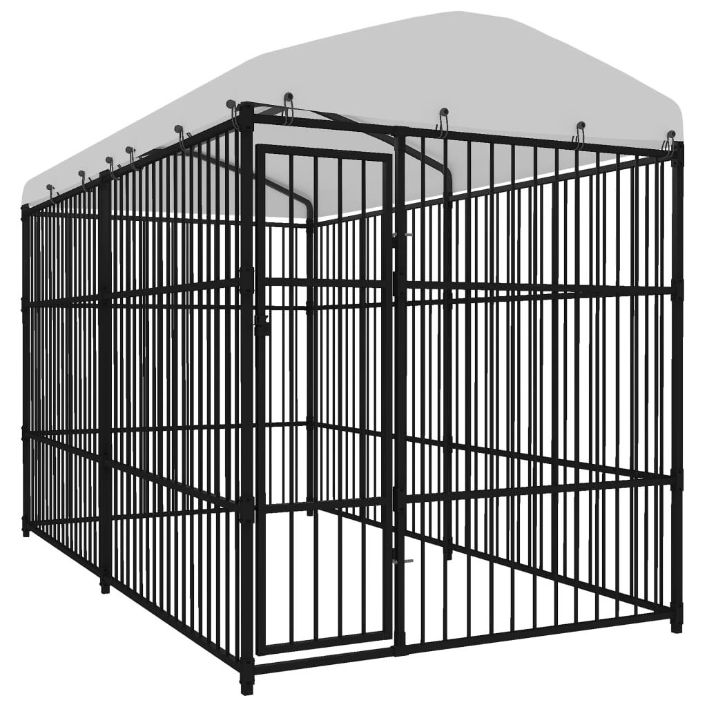 vidaXL Padoc pentru câini de exterior, cu acoperiș, 4 x 2 x 2,3 m imagine vidaxl.ro