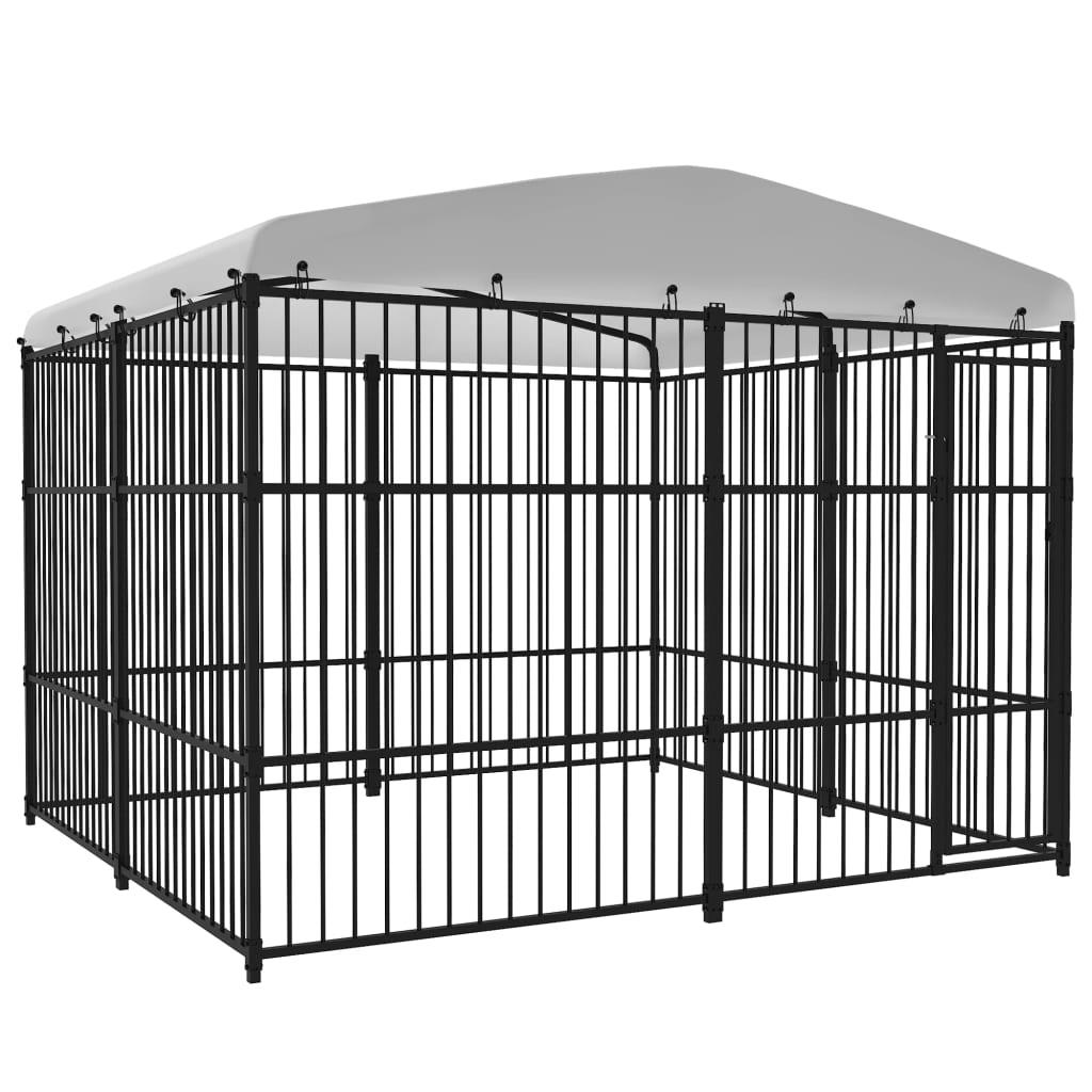 vidaXL Padoc pentru câini de exterior, cu acoperiș, 3 x 3 x 2,3 m poza vidaxl.ro