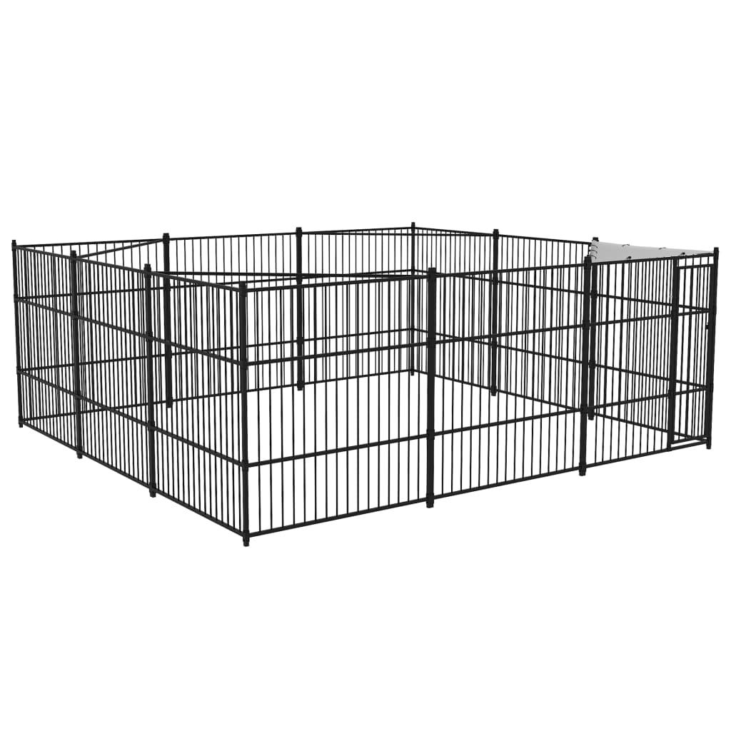 vidaXL Padoc pentru câini de exterior, 5 x 5 x 2 m poza 2021 vidaXL
