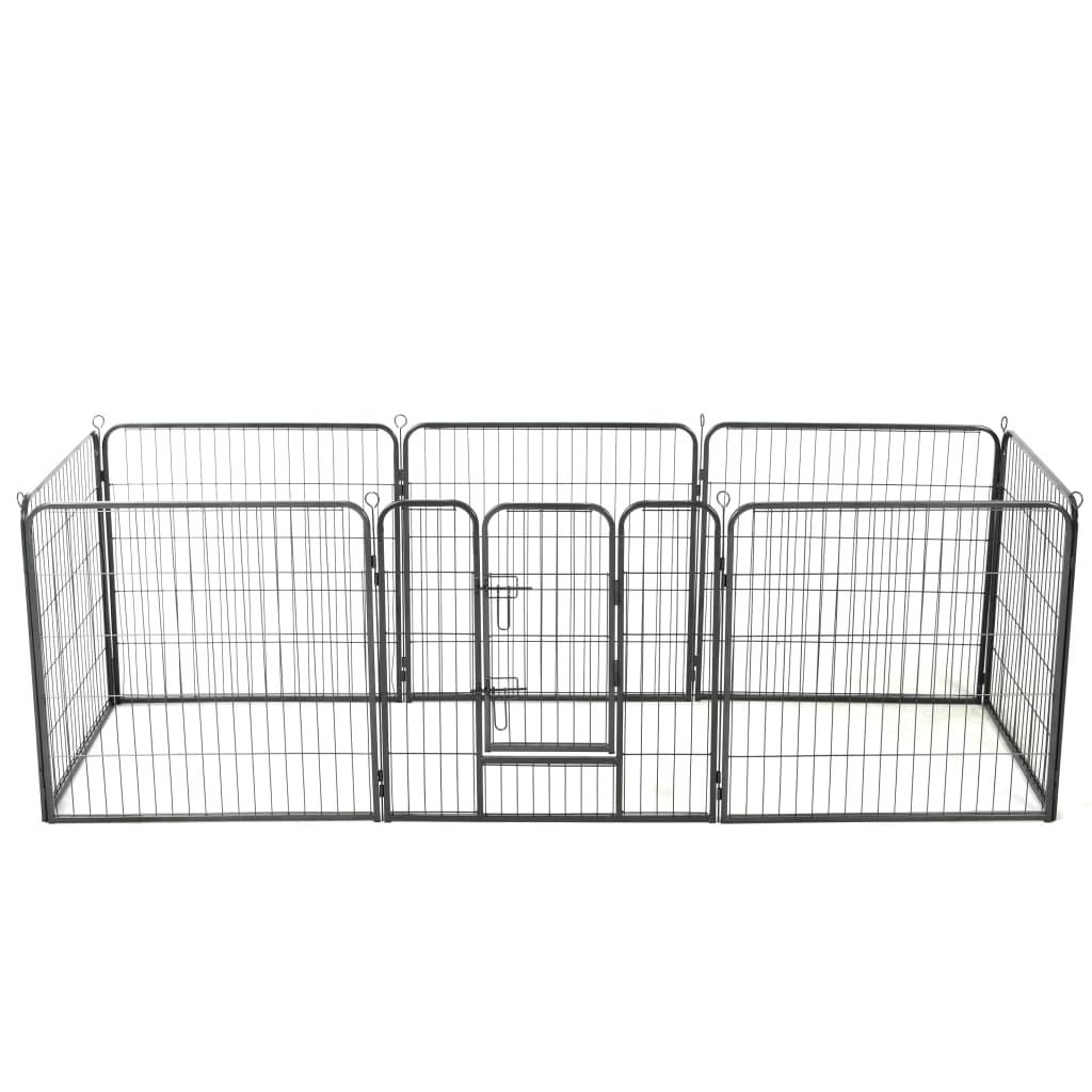vidaXL Țarc pentru câini, 8 panouri, oțel, 80x80 cm, negru poza 2021 vidaXL
