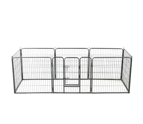vidaXL Dog Playpen 8 Panels Steel 80x80 cm Black