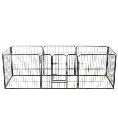 "vidaXL Dog Playpen 8 Panels Steel 31.5""x31.5"" Black[1/9]"