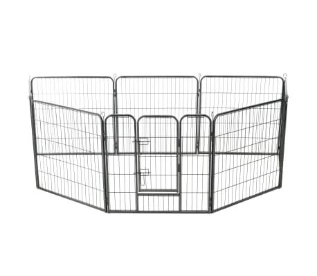vidaXL Ograda za pse z 8 jeklenimi paneli 80x80 cm črne barve[2/9]