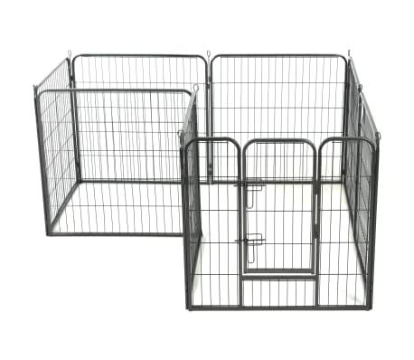 vidaXL Ograda za pse z 8 jeklenimi paneli 80x80 cm črne barve[3/9]