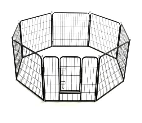 vidaXL Ograda za pse z 8 jeklenimi paneli 80x80 cm črne barve[4/9]