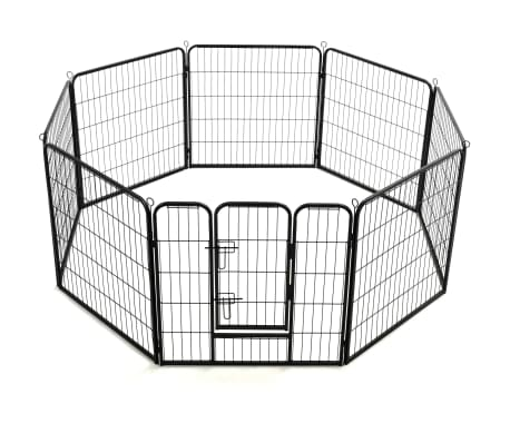 "vidaXL Dog Playpen 8 Panels Steel 31.5""x31.5"" Black[4/9]"