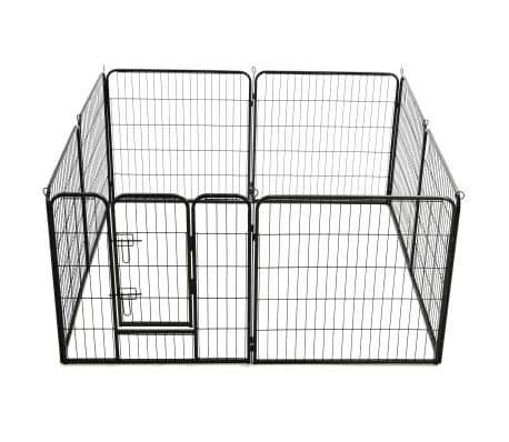 "vidaXL Dog Playpen 8 Panels Steel 31.5""x31.5"" Black[5/9]"