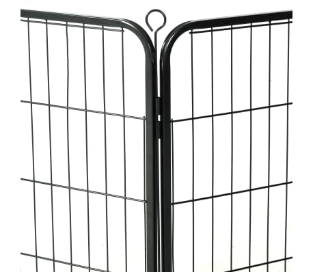 "vidaXL Dog Playpen 8 Panels Steel 31.5""x31.5"" Black[7/9]"