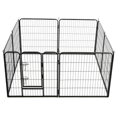 vidaXL Ograda za pse z 8 jeklenimi paneli 80x80 cm črne barve[5/9]