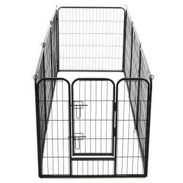 vidaXL Ograda za pse z 8 jeklenimi paneli 80x80 cm črne barve[6/9]