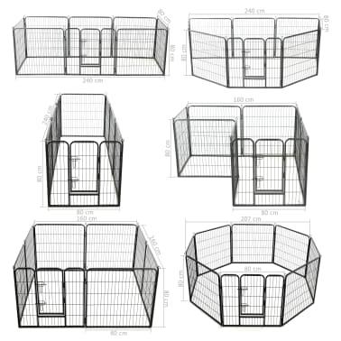vidaXL Ograda za pse z 8 jeklenimi paneli 80x80 cm črne barve[9/9]