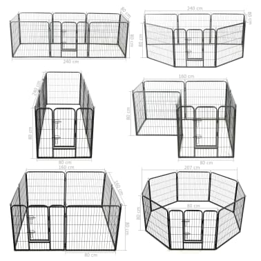"vidaXL Dog Playpen 8 Panels Steel 31.5""x31.5"" Black[9/9]"