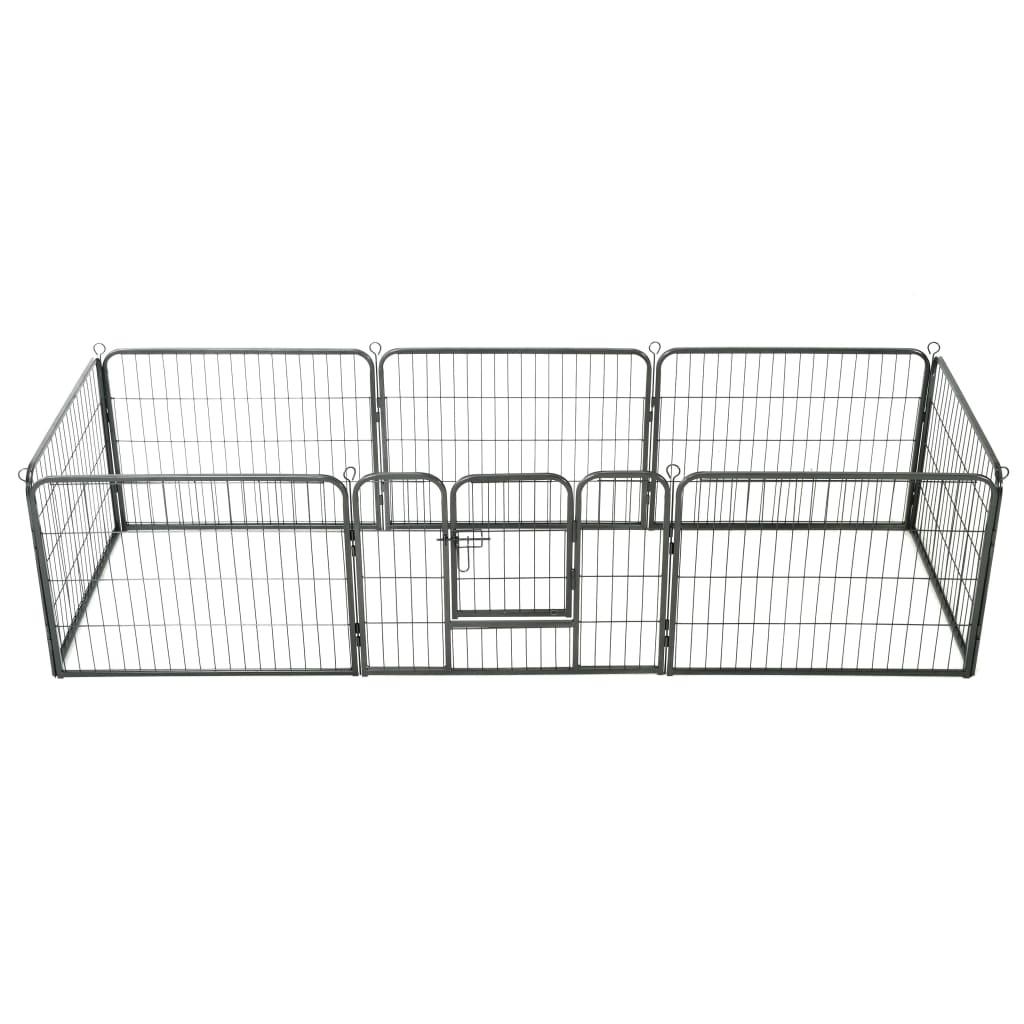 vidaXL Țarc pentru câini, 8 panouri, oțel, 60x80 cm, negru poza vidaxl.ro