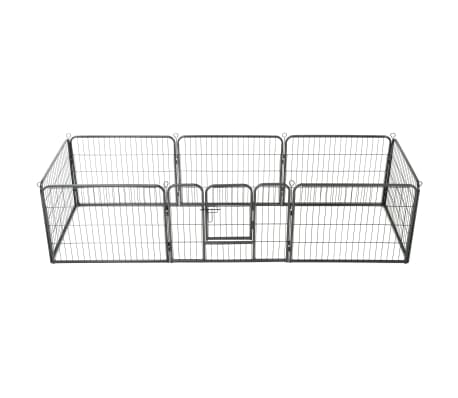 vidaXL Dog Playpen 8 Panels Steel 80x60 cm Black