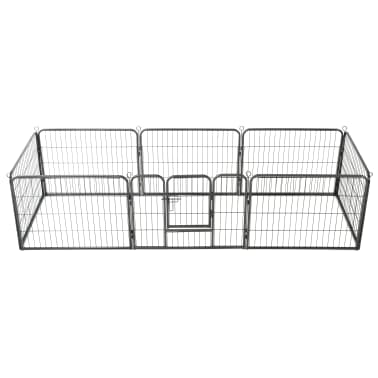 "vidaXL Dog Playpen 8 Panels Steel 31.5""x23.6"" Black[1/9]"