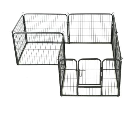 "vidaXL Dog Playpen 8 Panels Steel 31.5""x23.6"" Black[3/9]"