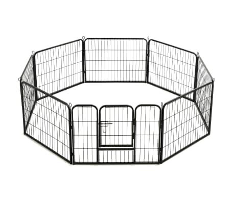 "vidaXL Dog Playpen 8 Panels Steel 31.5""x23.6"" Black[4/9]"