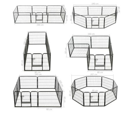 "vidaXL Dog Playpen 8 Panels Steel 31.5""x23.6"" Black[9/9]"