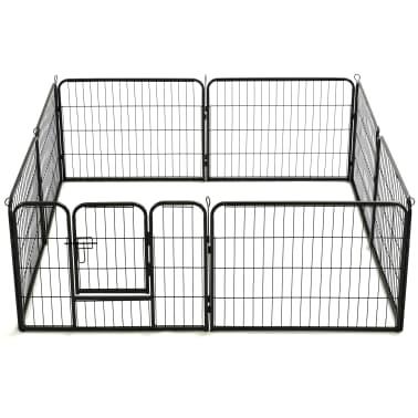 "vidaXL Dog Playpen 8 Panels Steel 31.5""x23.6"" Black[5/9]"