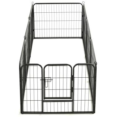 "vidaXL Dog Playpen 8 Panels Steel 31.5""x23.6"" Black[6/9]"