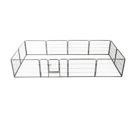 vidaXL Dog Playpen 12 Panels Steel 80x60 cm Black