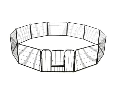 "vidaXL Dog Playpen 12 Panels Steel 31.5""x23.6"" Black[4/9]"