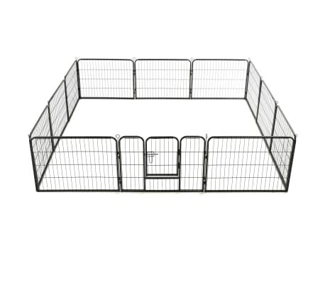 "vidaXL Dog Playpen 12 Panels Steel 31.5""x23.6"" Black[5/9]"