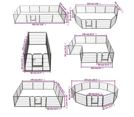 "vidaXL Dog Playpen 12 Panels Steel 31.5""x23.6"" Black[9/9]"