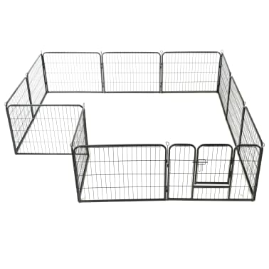 "vidaXL Dog Playpen 12 Panels Steel 31.5""x23.6"" Black[3/9]"
