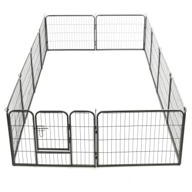 "vidaXL Dog Playpen 12 Panels Steel 31.5""x23.6"" Black[6/9]"