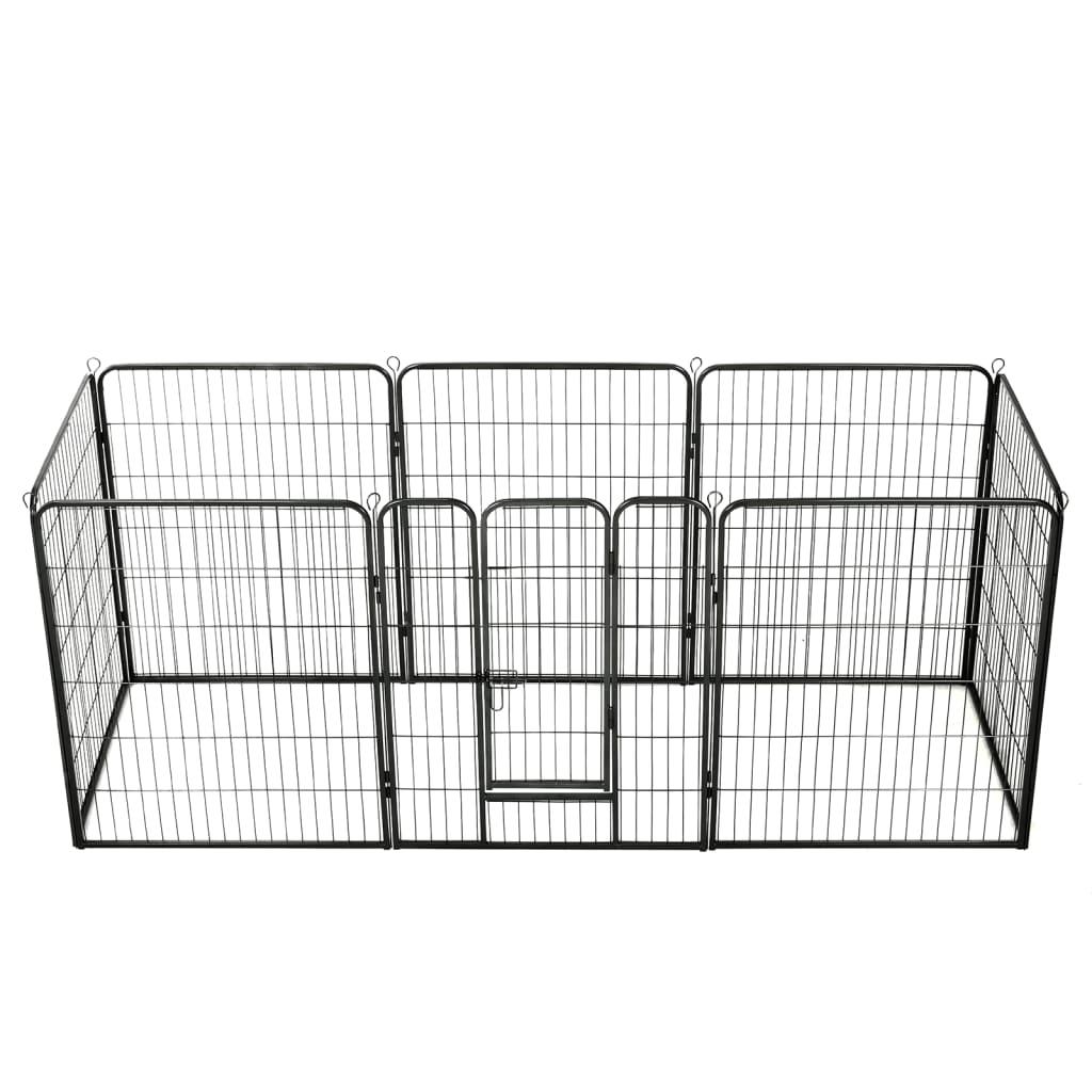 vidaXL Țarc pentru câini, 8 panouri, oțel, 80 x 100 cm, negru imagine vidaxl.ro