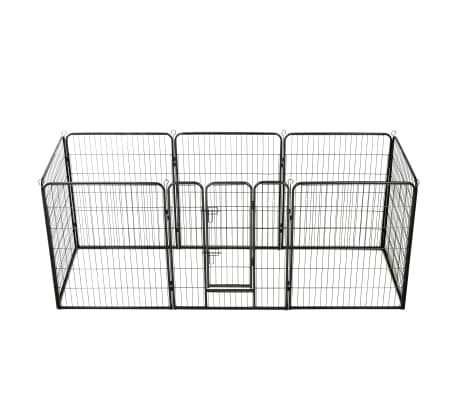 "vidaXL Dog Playpen 8 Panels Steel 31.5""x39.4"" Black"