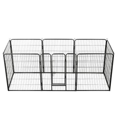 vidaXL Hondenren met 8 panelen 80x100 cm staal zwart[1/9]