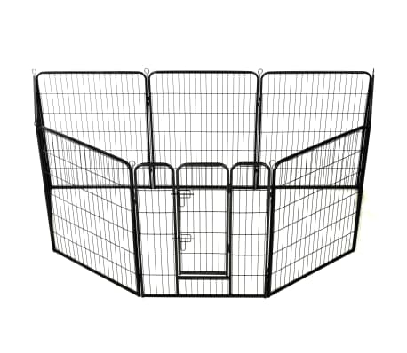 "vidaXL Dog Playpen 8 Panels Steel 31.5""x39.4"" Black[2/9]"
