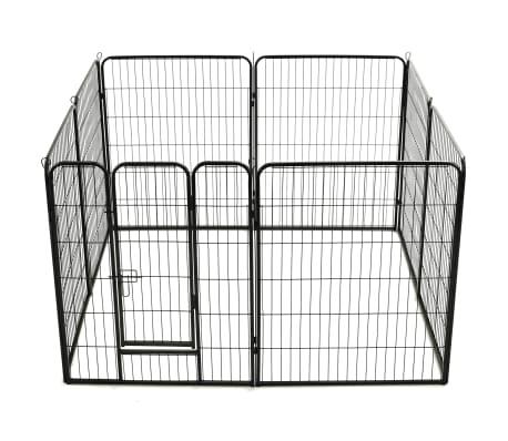 vidaXL Hondenren met 8 panelen 80x100 cm staal zwart[5/9]