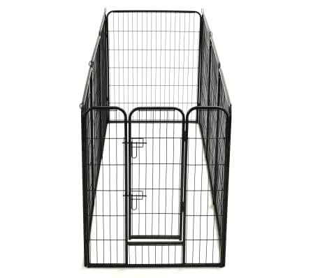 vidaXL Hondenren met 8 panelen 80x100 cm staal zwart[6/9]