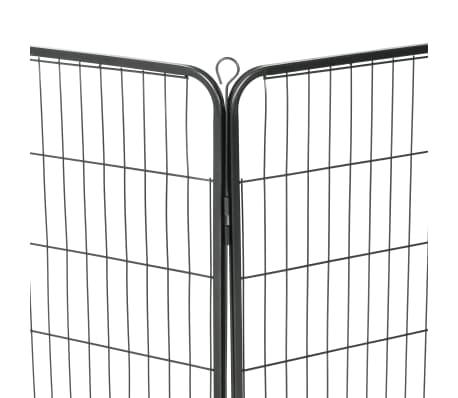 vidaXL Hondenren met 8 panelen 80x100 cm staal zwart[7/9]