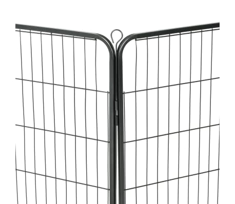 vidaXL løbegård til hunde 8 paneler stål 80 x 100 sort[7/9]