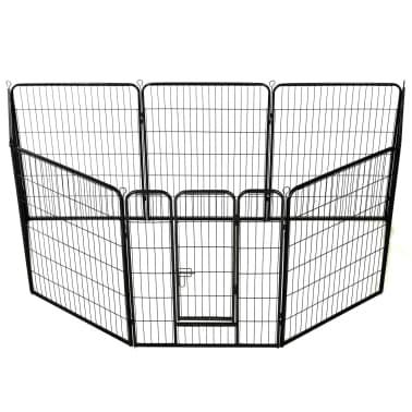 vidaXL Hondenren met 8 panelen 80x100 cm staal zwart[2/9]