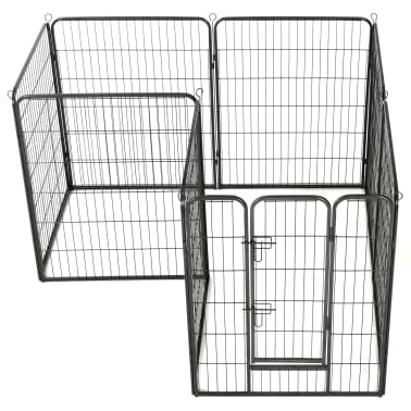 "vidaXL Dog Playpen 8 Panels Steel 31.5""x39.4"" Black[3/9]"