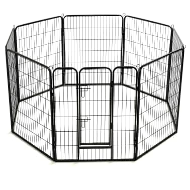 "vidaXL Dog Playpen 8 Panels Steel 31.5""x39.4"" Black[4/9]"