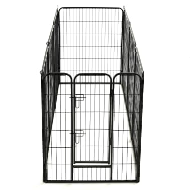 "vidaXL Dog Playpen 8 Panels Steel 31.5""x39.4"" Black[6/9]"