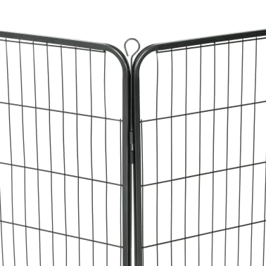 "vidaXL Dog Playpen 8 Panels Steel 31.5""x39.4"" Black[7/9]"