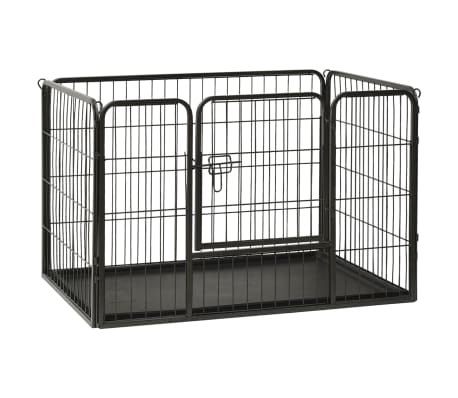 vidaXL Puppy Playpen Steel 93x63x61cm