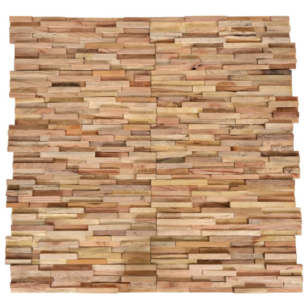 vidaXL Panouri de perete 3D, 10 buc., lemn masiv de tec, 1 m² vidaxl.ro
