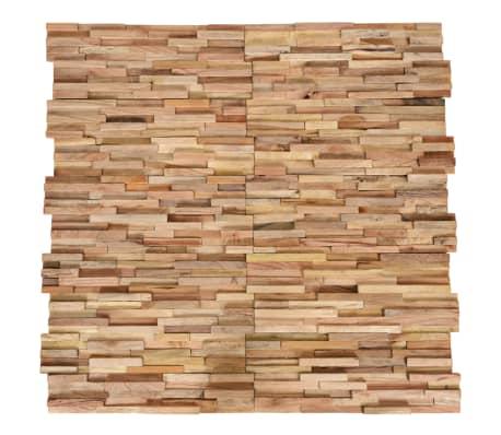vidaXL Paneles revestimiento de pared 3D 10 piezas teca maciza 1 m²