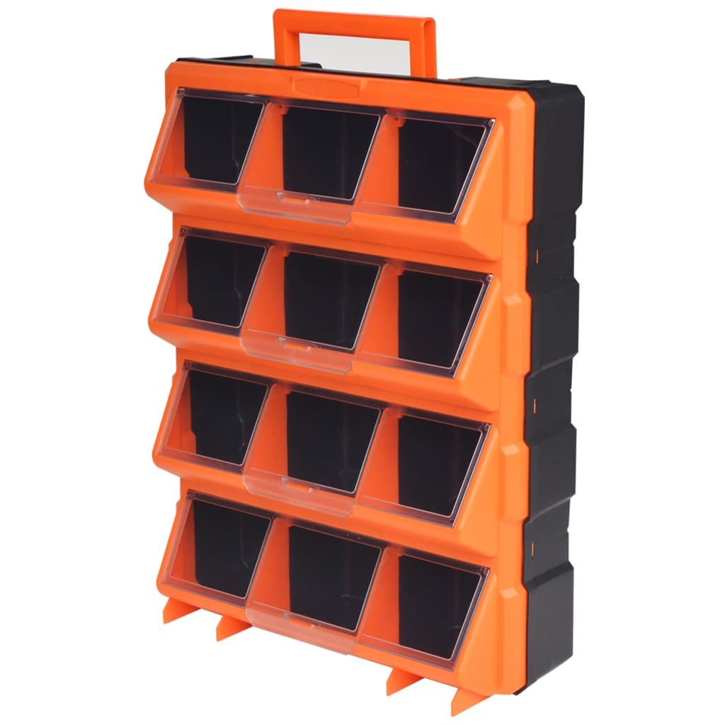 Přenosný závěsný box na nářadí s 12 přihrádkami