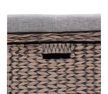 vidaXL Bänk med 3 korgar sjögräs 105x40x42 cm grå[7/9]