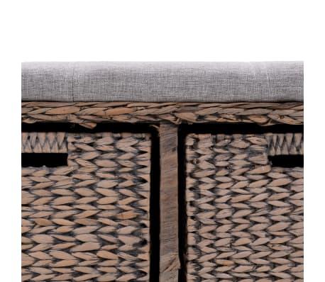 vidaXL Suoliukas su 2 krepšiais, jūros žolių, 71x40x42cm, pilkas[6/8]